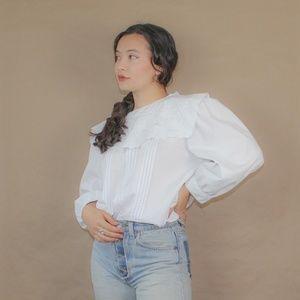 (433) vtg 80s victorian sailor white blouse
